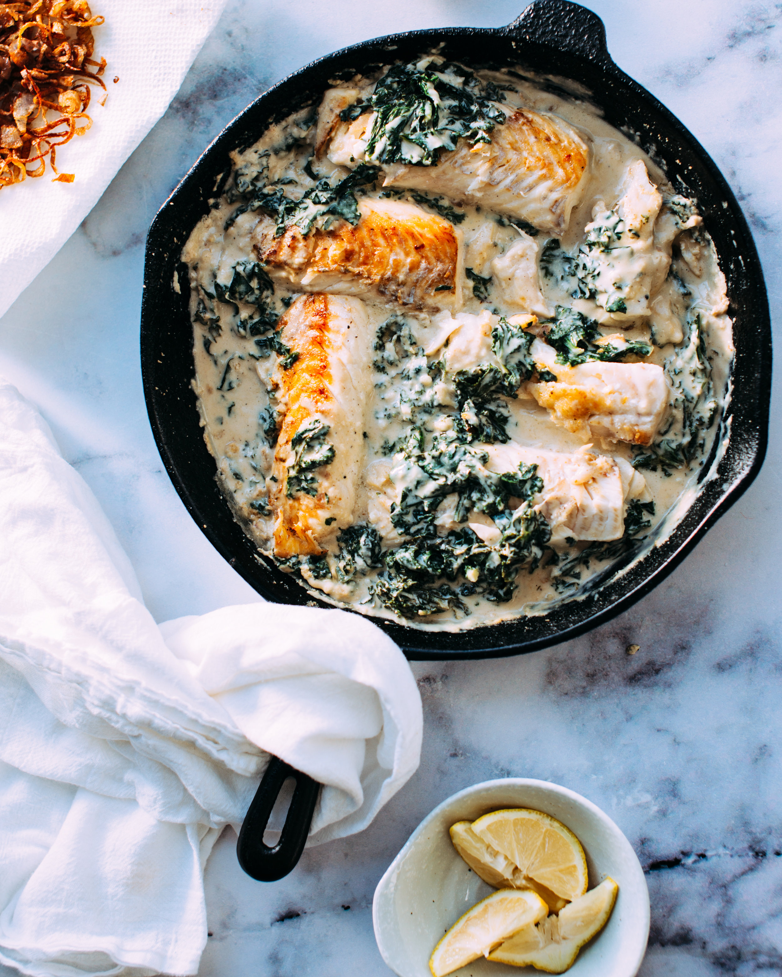 Pan fried catch of the day with creamed spinach