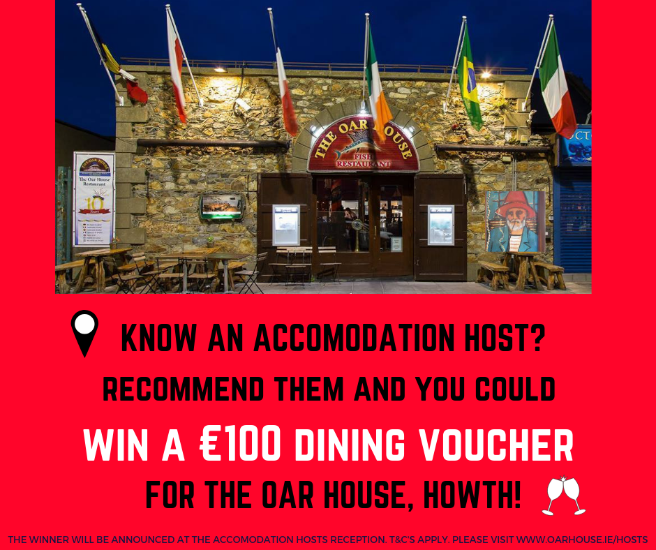 Go to our Facebook page  @oar.howth  to enter the draw to win a €100 DINING VOUCHER for the OAR HOUSE, HOWTH.