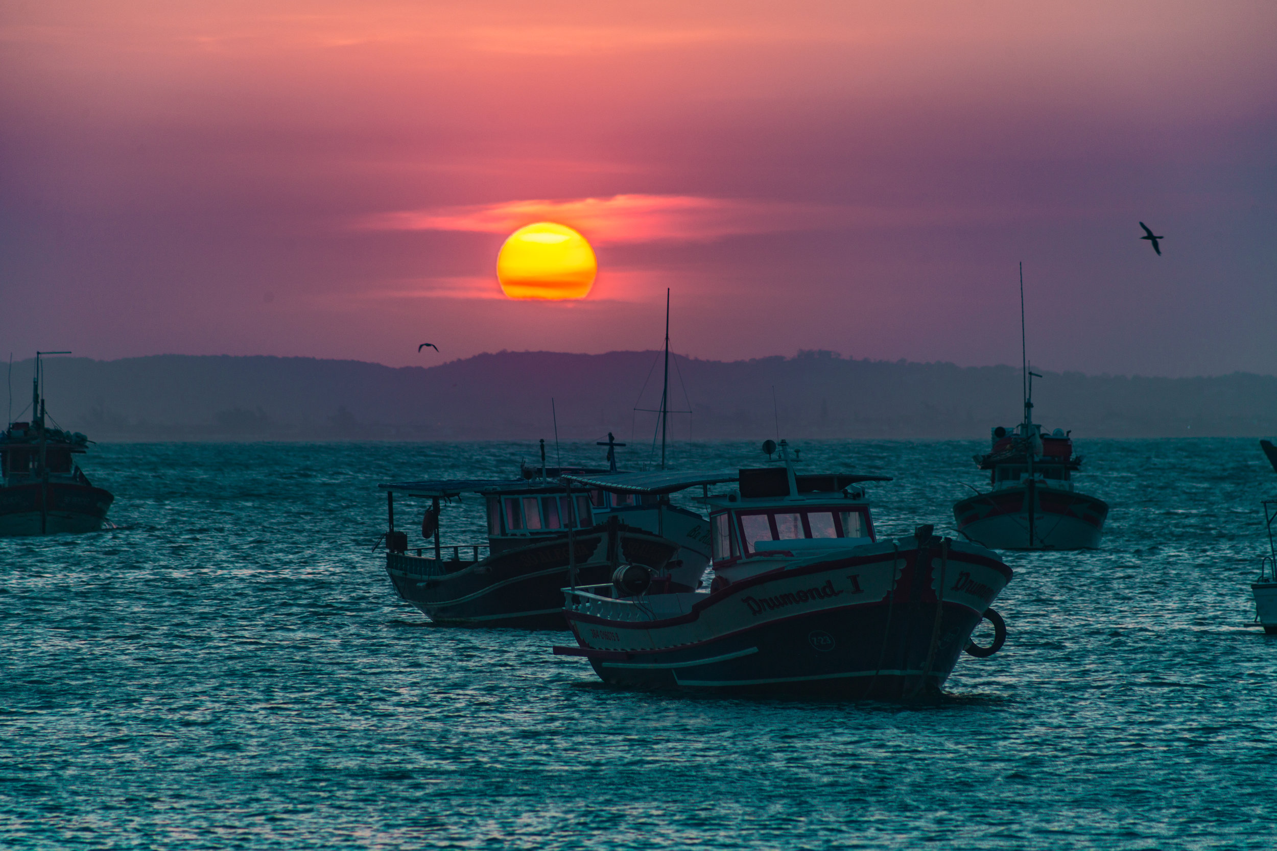 Fishing boats at sunset in Bahia, Brazil
