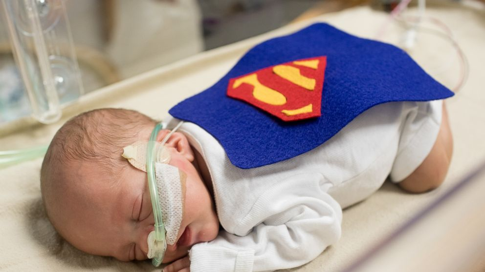 The babies in the NICU at St. Luke's Hospital in Kansas City, Missouri, got Halloween costumes and mini crocheted pumpkins. Photo by Emmalee Schaumburg.