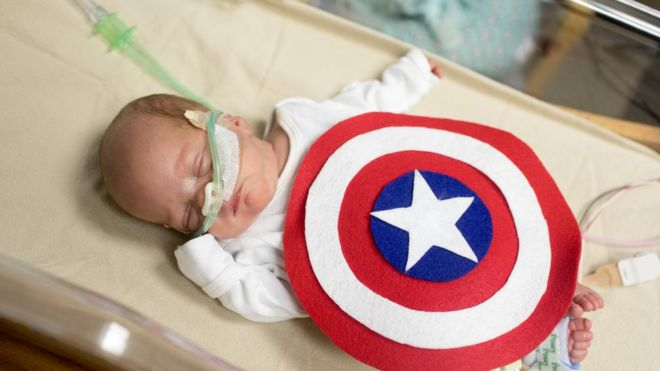 William Behnke dressed as Captain America. Image copyright: SCHAUMBURG PHOTOGRAPHY AND MARCH OF DIMES.