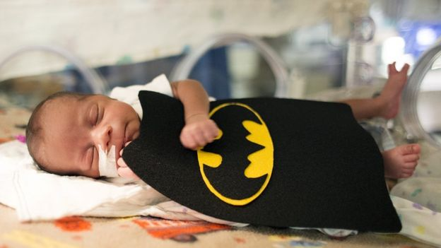 The costumes included a Batman outfit. Image copyright: SALLY MORROW AND MARCH OF DIMES.