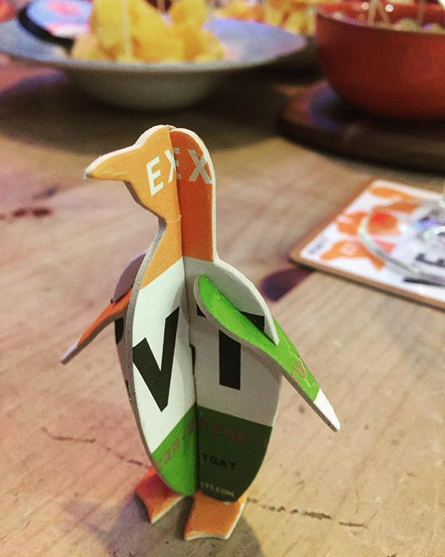 The Vedett penguin paid us a visit last night when we were having our Belgian beer and cheese night. He just couldn't resist a taste! 😃🐧🍻 #belgianbeer #belgianbeerandcheese #beerandcheese #sampling #tasty #vedett #vedettpenguin #allthebeer #bierhuisgrandcafe