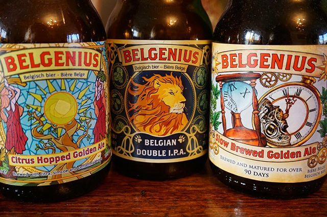 We had the opportunity of trying out the Belgenius range and they are simply wonderful beers! 😃. Brewed in Belgium, the Belgenius brewery is a micro brewery who still love the traditional way of brewing, but have pushed themselves to create beers beyond what exists on the market. Handcrafted, artistic beers that are enjoyable 😊. If you can get your hands on these, they're definitely worth a try! 🍻. The ones in this photo are the Citrus hopped golden ale, Double I.P.A & the Slow brewed golden ale. #belgeniusbeer #craftbeers #microbrewery #belgianbeer #artistic #tasty #beersampling #brewedinbelgium #givethematry #bierhuisgrandcafe #stives #cornwall #openingsoon
