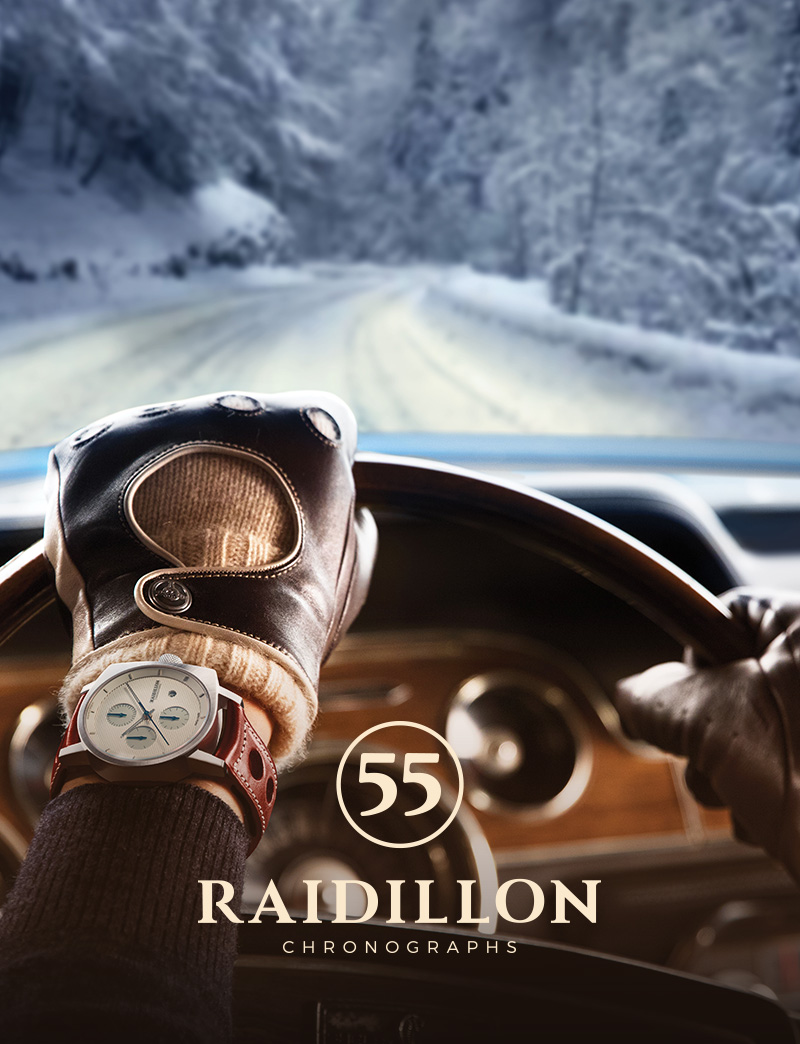 RAIDILLON   Raidillon designs all the essentials that a Gentleman Driver needs or rather desires. Discover their unique self-winding watches, designed in Belgium, limited to only 55 pieces per model and powered by a Swiss movement. Enjoy RAIDILLON's high quality leather goods that create the complete Gentleman Driver experience.