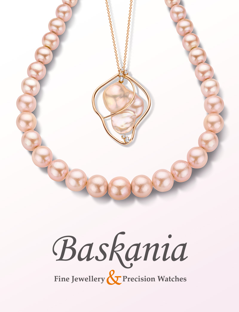 BASKANIA   35 years experience in the art of understanding and realising your dreams. The 3 BASKANIA designers still use traditional techniques. Real craftmanship combined with personality and the will to always do better. Handmade in Belgium by real jewellery wizards. Original high quality, made of the finest selection of gems and pearls.