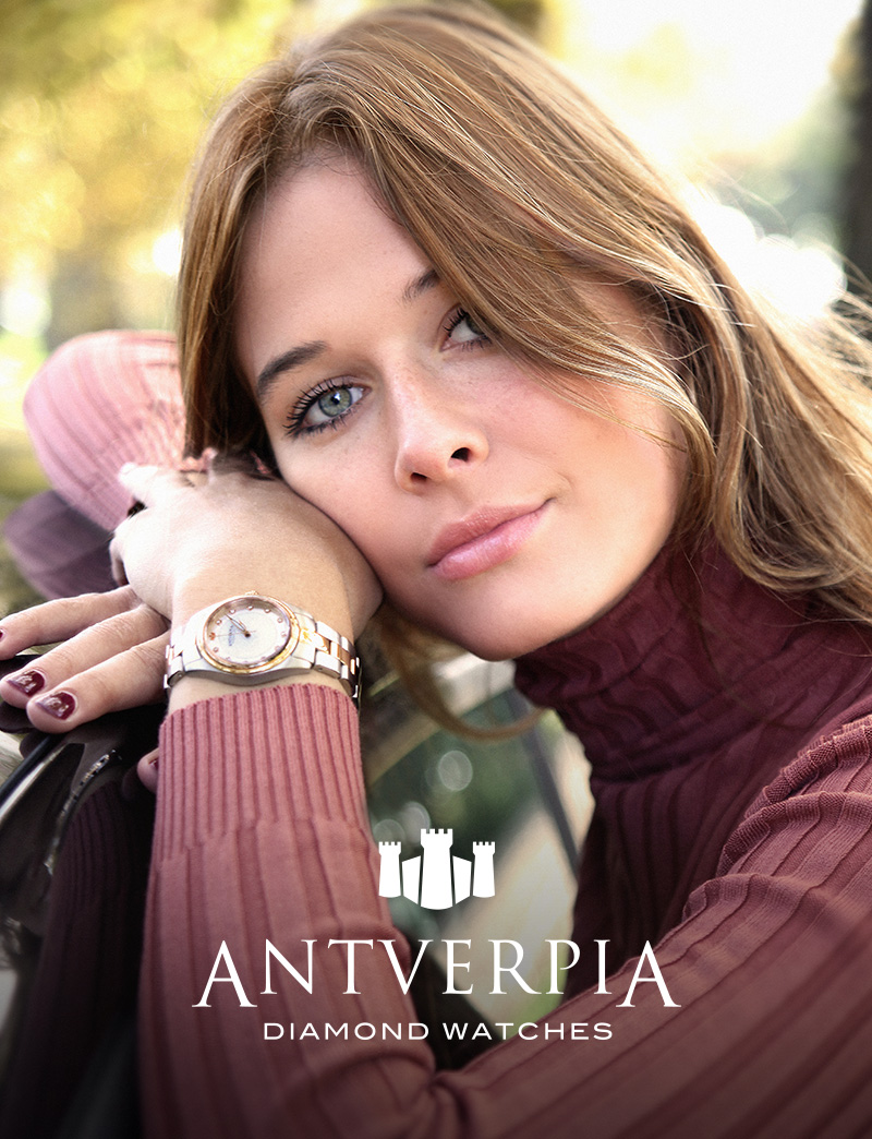 ANTVERPIA   Thé official Antwerp watch! Young, stylish and dynamic. Swiss Ronda-insides, sapphire crystal glass and 11 tiny diamonds. Specially made for the Diva Museum by Dennis and Stefan Leemans (from Silvius Droun) and watch makers Guido and Ronald Steffen from Steffen Antwerp and RSC Pilot's Watches.