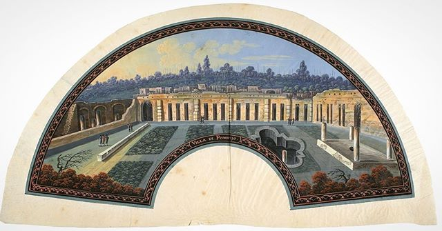 Italian School, Naples, Villa di Pompejo, circa 1800. . 🖌 This splendid, hand-painted, fan-shaped #gouache depicts the #VillaofDiomedes among the ruins of #Pompeii, about 50 years after the excavations began in 1748. . . 🖌 This fan is hand-painted by an #anonymousartist. The fan is neither folded nor mounted, and dates from the early #19thcentury. The material used was natural #vellum . . 🖌 This shows a Romantic view of the most frequently visited sight by travelers of the #GrandTour.  The delicate decorative floral design border in orange and gold, and the title at lower center is executed with great precision. . . 📏 Dimensions: 145 x 445 mm . 🔍 18th century etchings and 19th century photographs of Pompeii are currently on view at the #YaleUniversityArtGallery until 8/19, for the exhibition Pompeii: Photographs and Fragments. . #PompeiiPhotographsandFragments #YaleUniversity #PiaGallo #ItalianOldMasters #worksonpaper