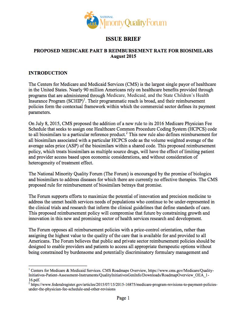 Proposed Medicare Part B Reimbursement Rate Cover