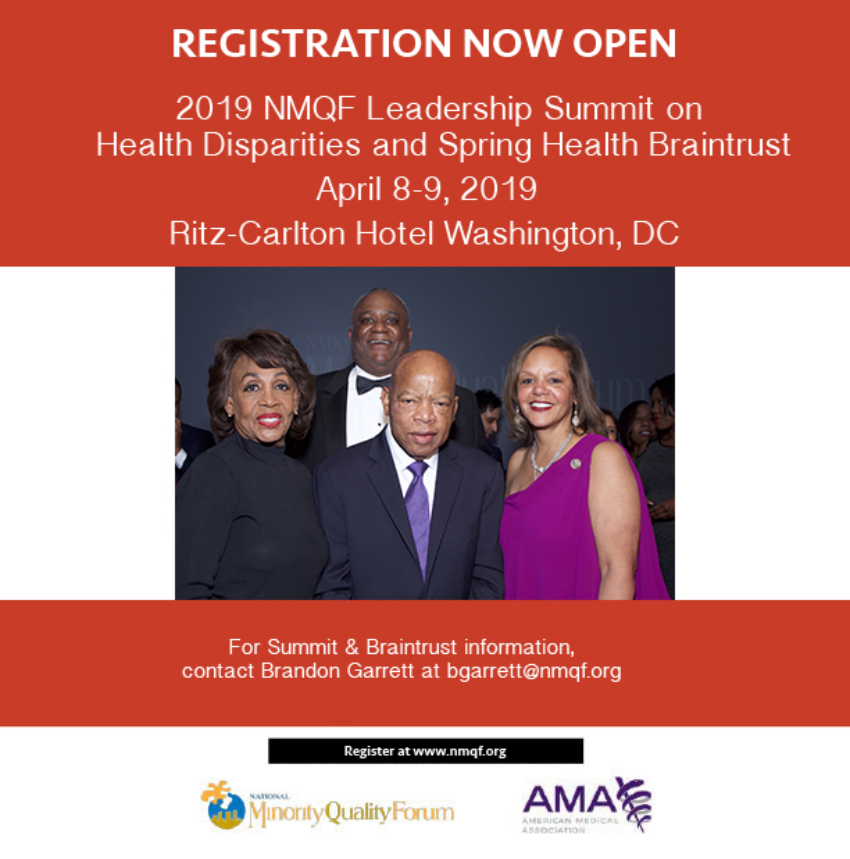 2019 NMQF Leadership Summit on Health Disparities and Spring Health Braintrust Flyer