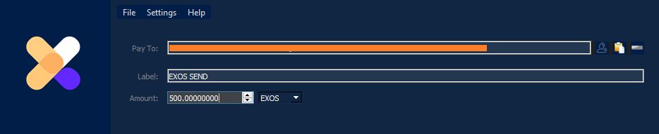 Pay To:  Input the EXOS address you want to send tokens to in this field.   Label:  Create a memorable label for the address so you can find it in your Address Book and transaction history later.   Amount:  Here is where to input the number of tokens you want to send out.