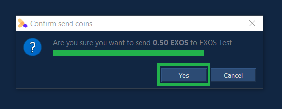 Confirm you really do want to send tokens to the specified address