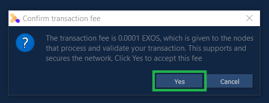 Accept the transaction fee amount for this particular transaction