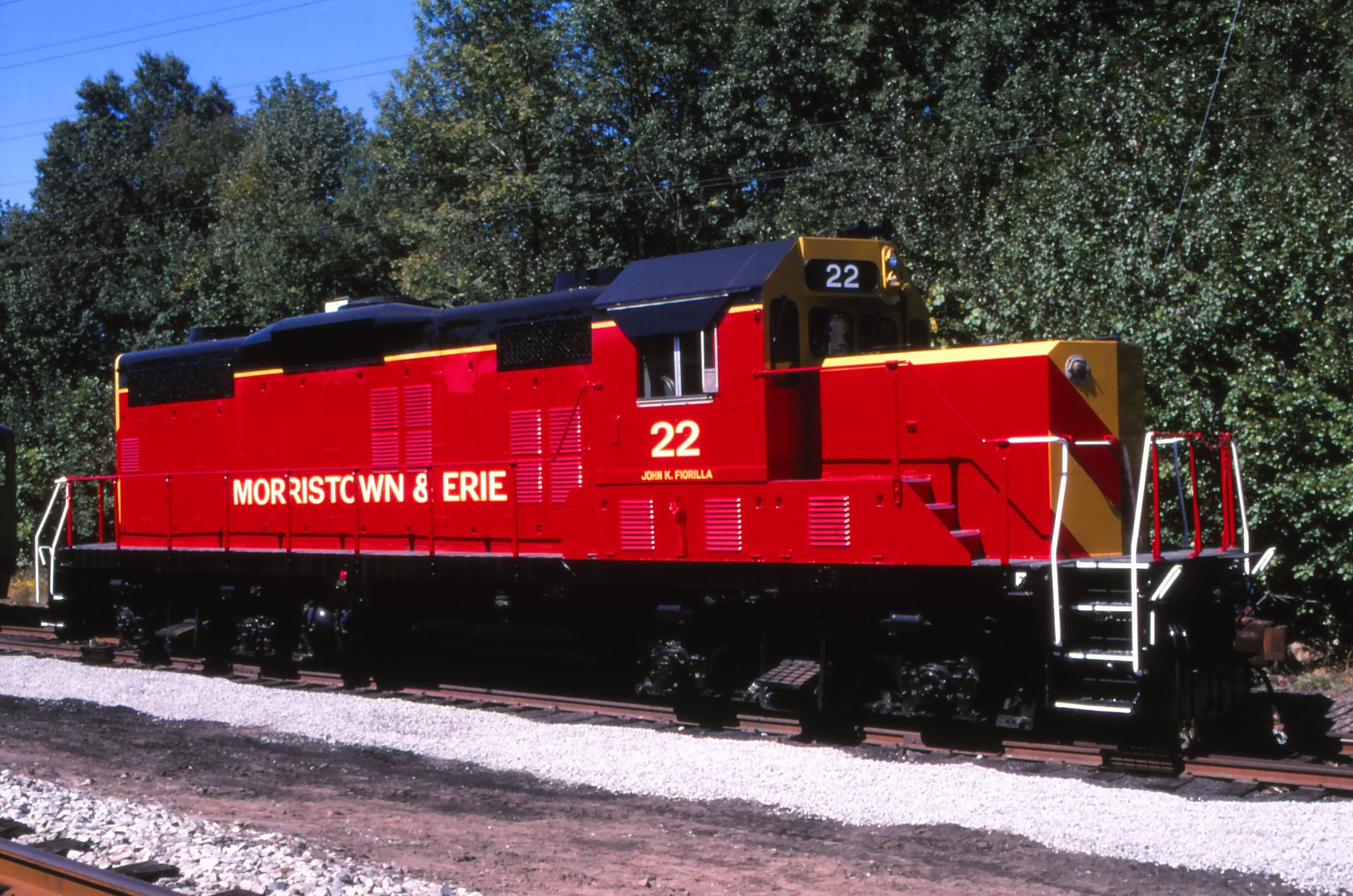 "Morristown & Erie Railway locomotive #22 was christened the ""John K. Fiorilla"" in recognition of Mr. Fiorilla's services to the railroad.  (Sandy Burton photo)"