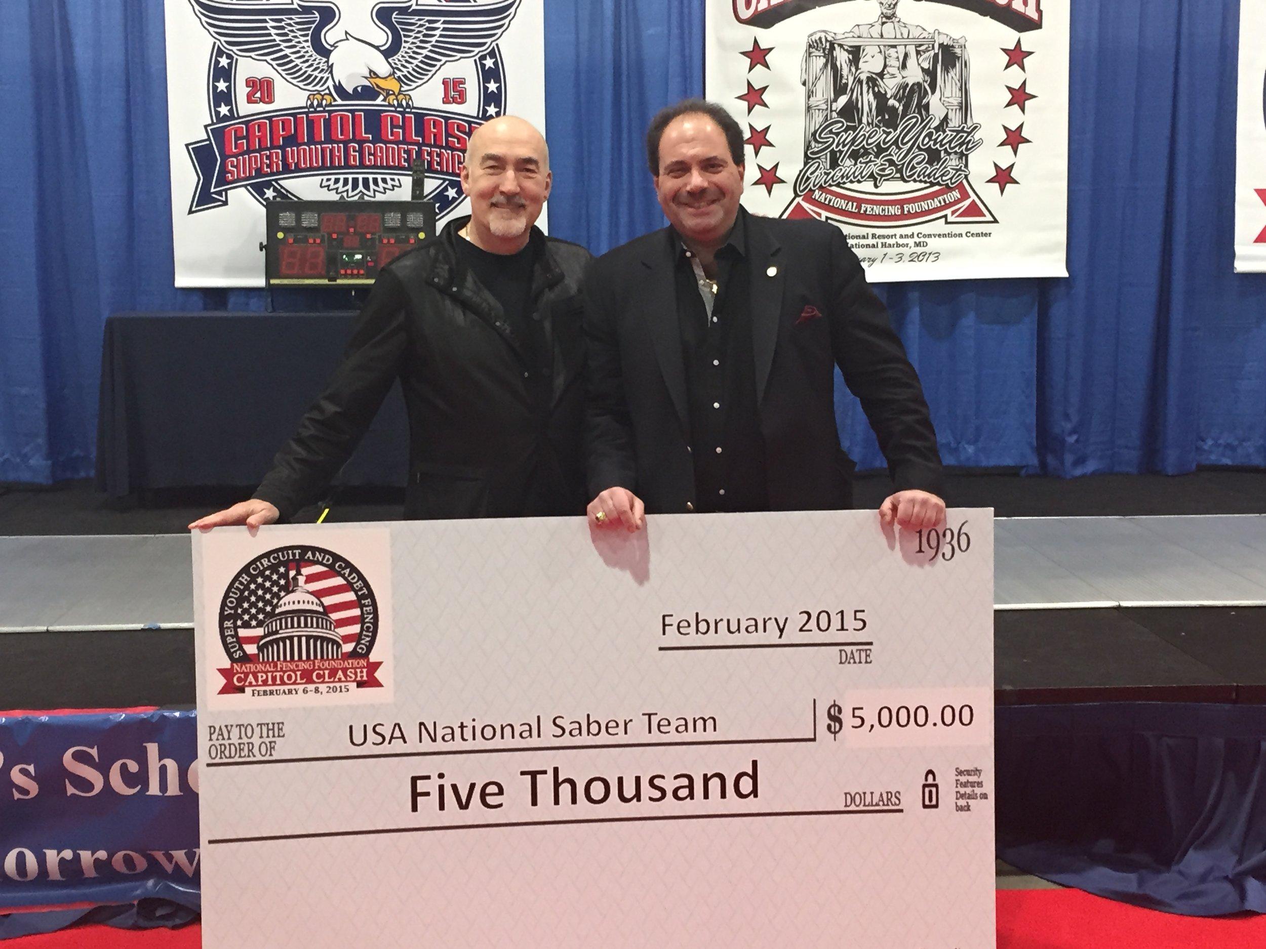 2015 Donation to the USA National Saber Team with Senior USA Team Coach, Zoron Tulum & National Fencing Foundation president, Alexandre Ryjik