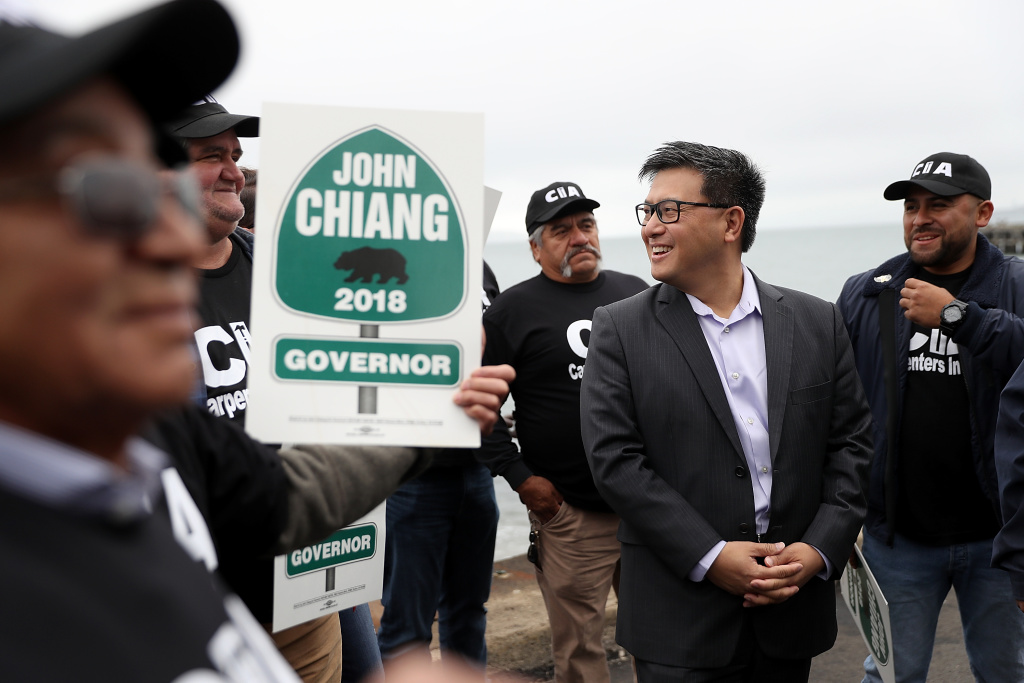 California Democratic gubernatorial candidate, California State Treasurer John Chiang, greets union carpenters during a campaign event near the Golden Gate Bridge on June 7, 2017 in San Francisco, California. JUSTIN SULLIVAN/GETTY IMAGES