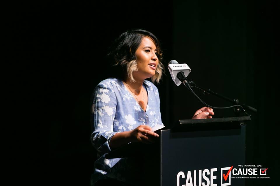 Tanya Edmilao speaking at the 2018 Leadership Academy Graduation