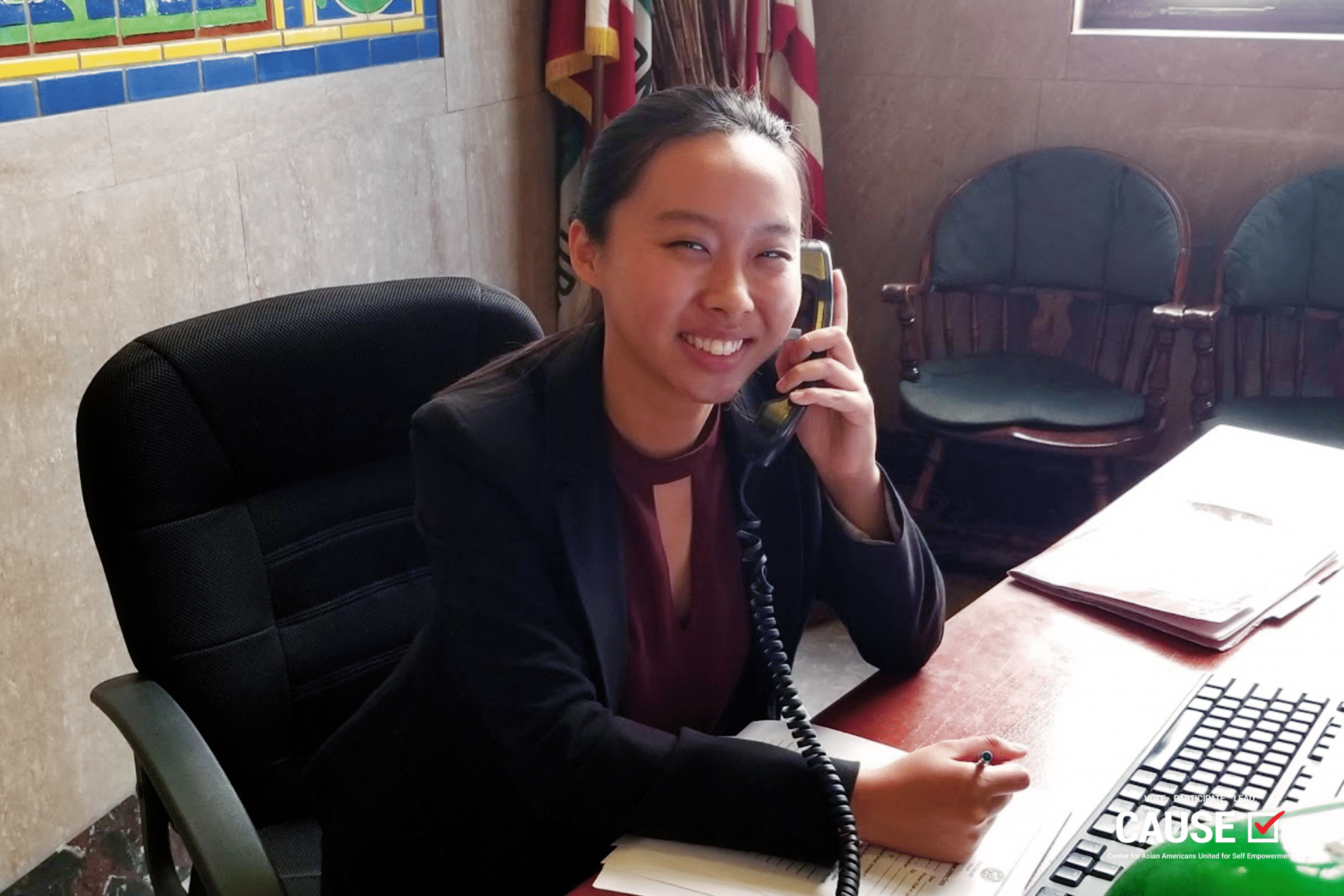 Katherine Hsu answering a call at Los Angeles Mayor Eric Garcetti's Office