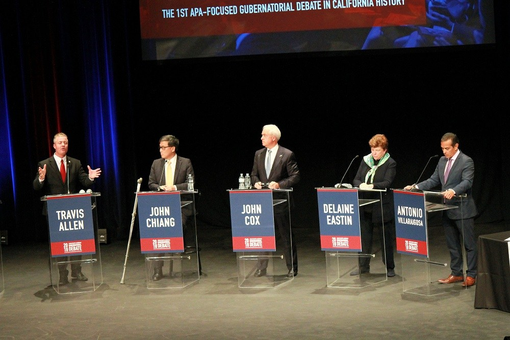 Candidates for the California Governor debate Friday evening, April 27, 2018. (Nathan Solis/CNS)