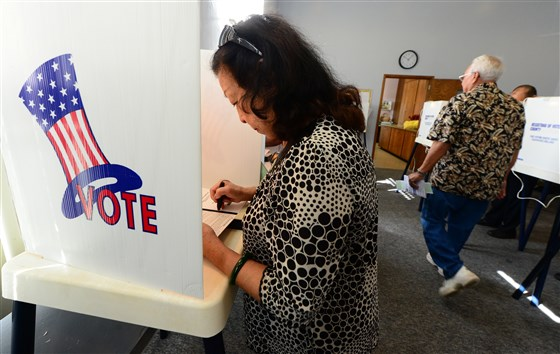 Voters cast ballots in Los Angeles County in California on November 6, 2012. FREDERIC J. BROWN / AFP/Getty Images