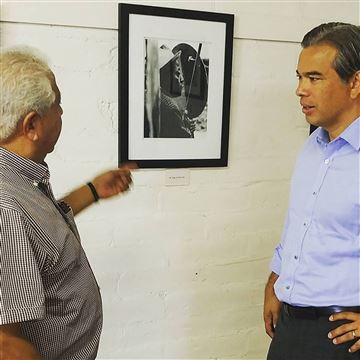 In this 2015 photo, Paul Chavez gives Assemblymember Rob Bonta a tour of the Agbayani Village in Delano, California, a retirement home created for Filipino farmworkers. Courtesy Of The Office Of Assemblymember Rob Bonta