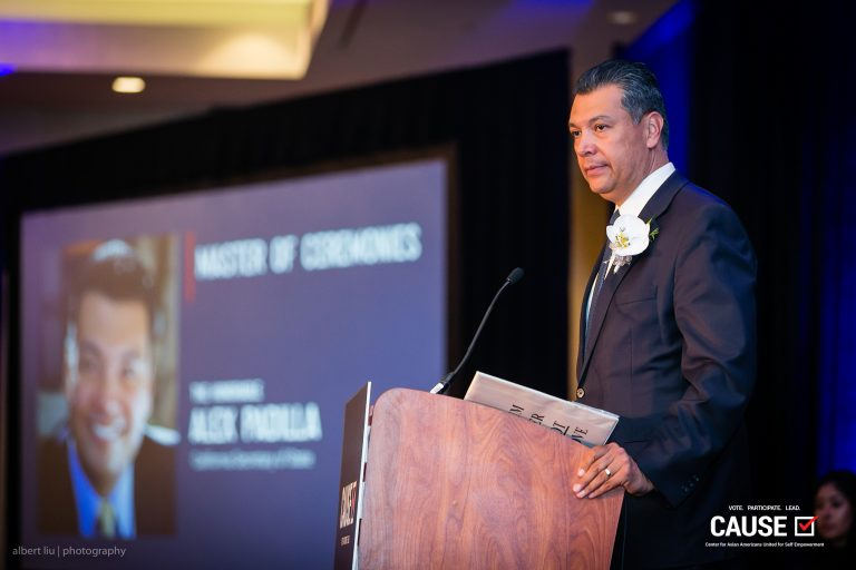 Alex Padilla speaking at the 2018 CAUSE Annual Gala