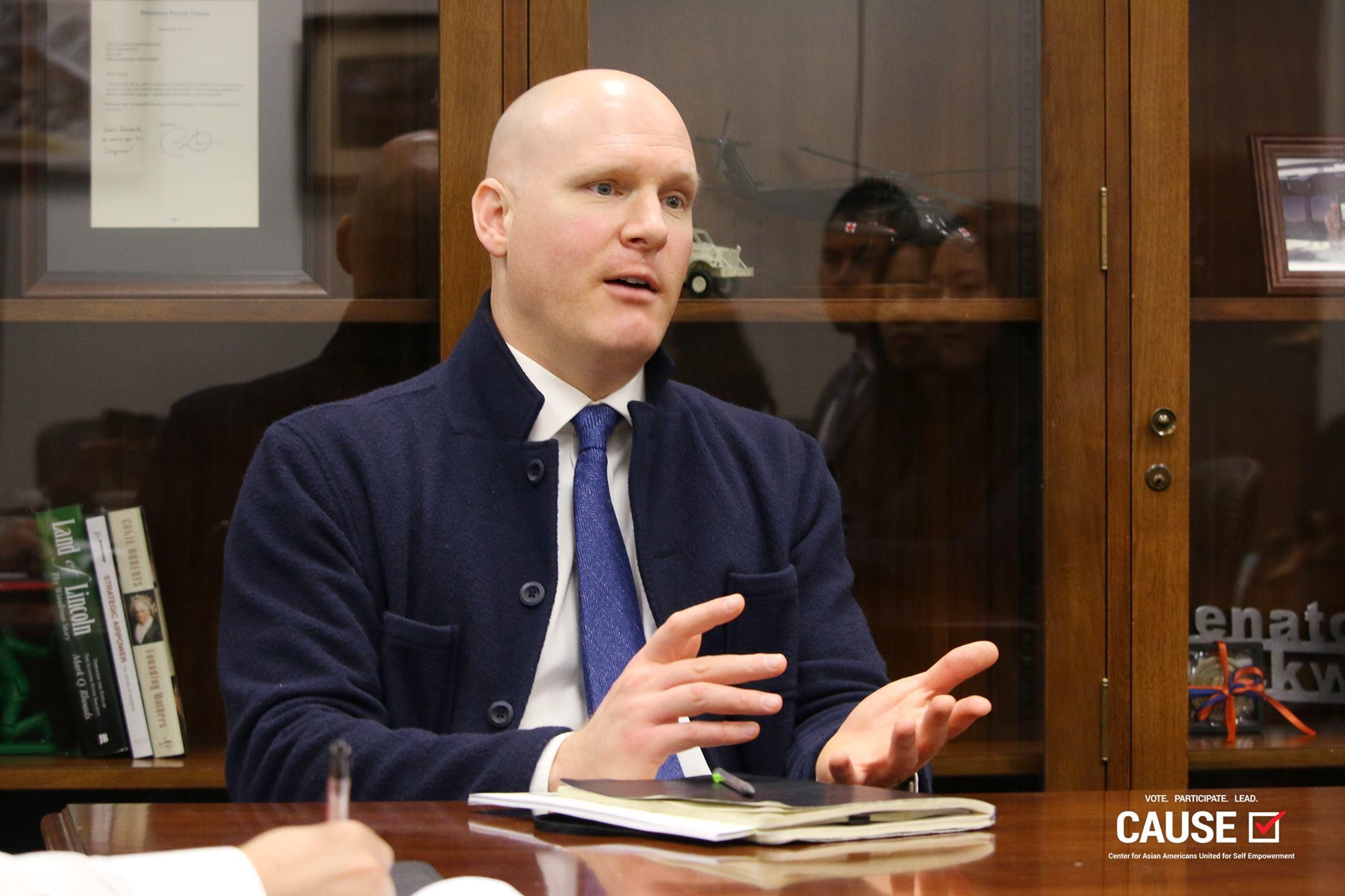 James Jarosz speaking to the 2017 Veterans Initiative fellows