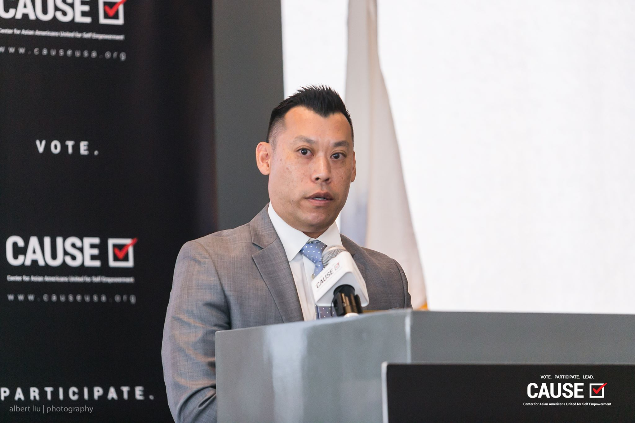Adam Ma speaking at the 2017 CAUSE Veterans Initiative Leadership Luncheon