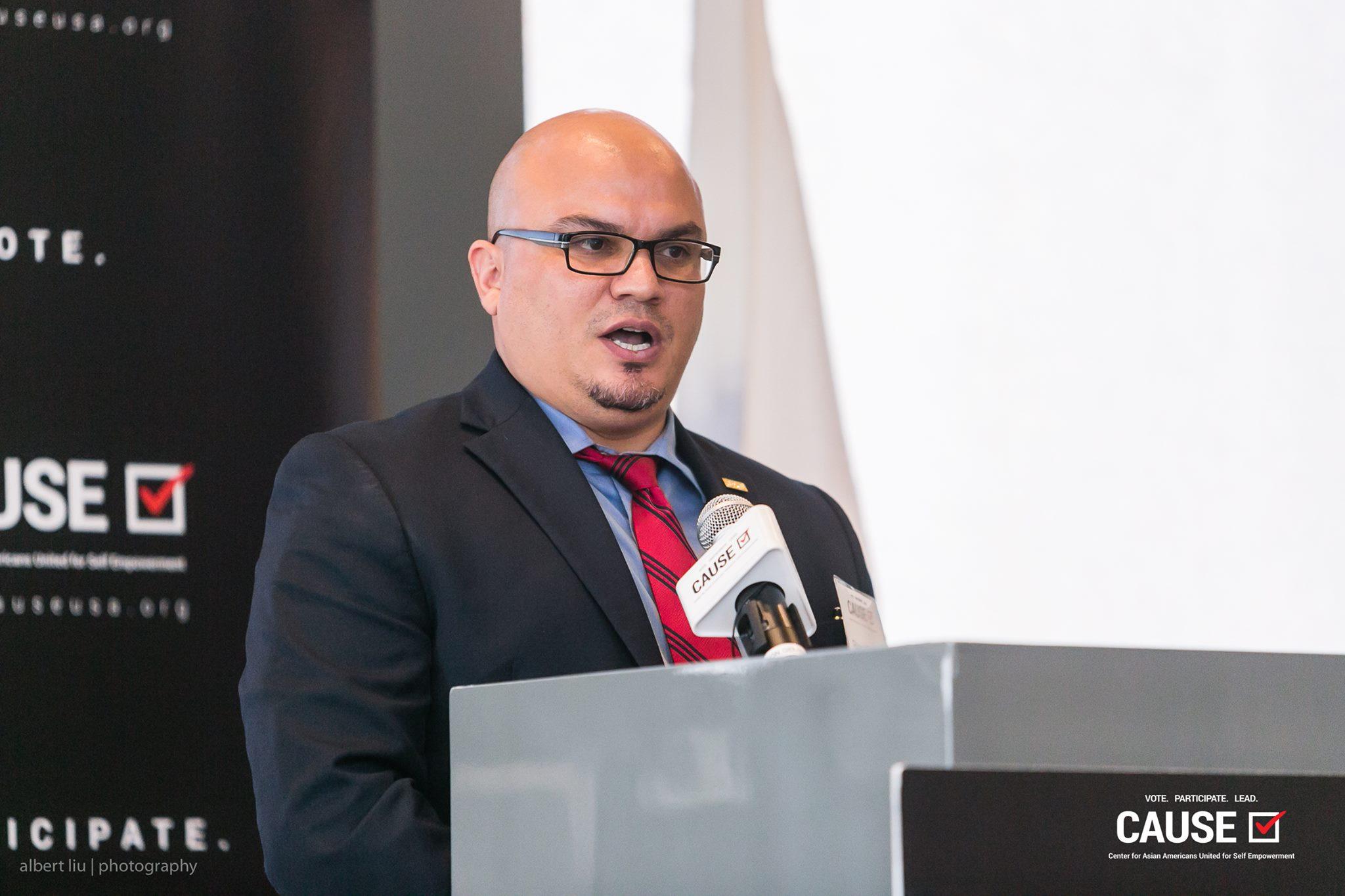 Blas Villalobos speaking at the 2017 CAUSE Veterans Initiative Leadership Luncheon