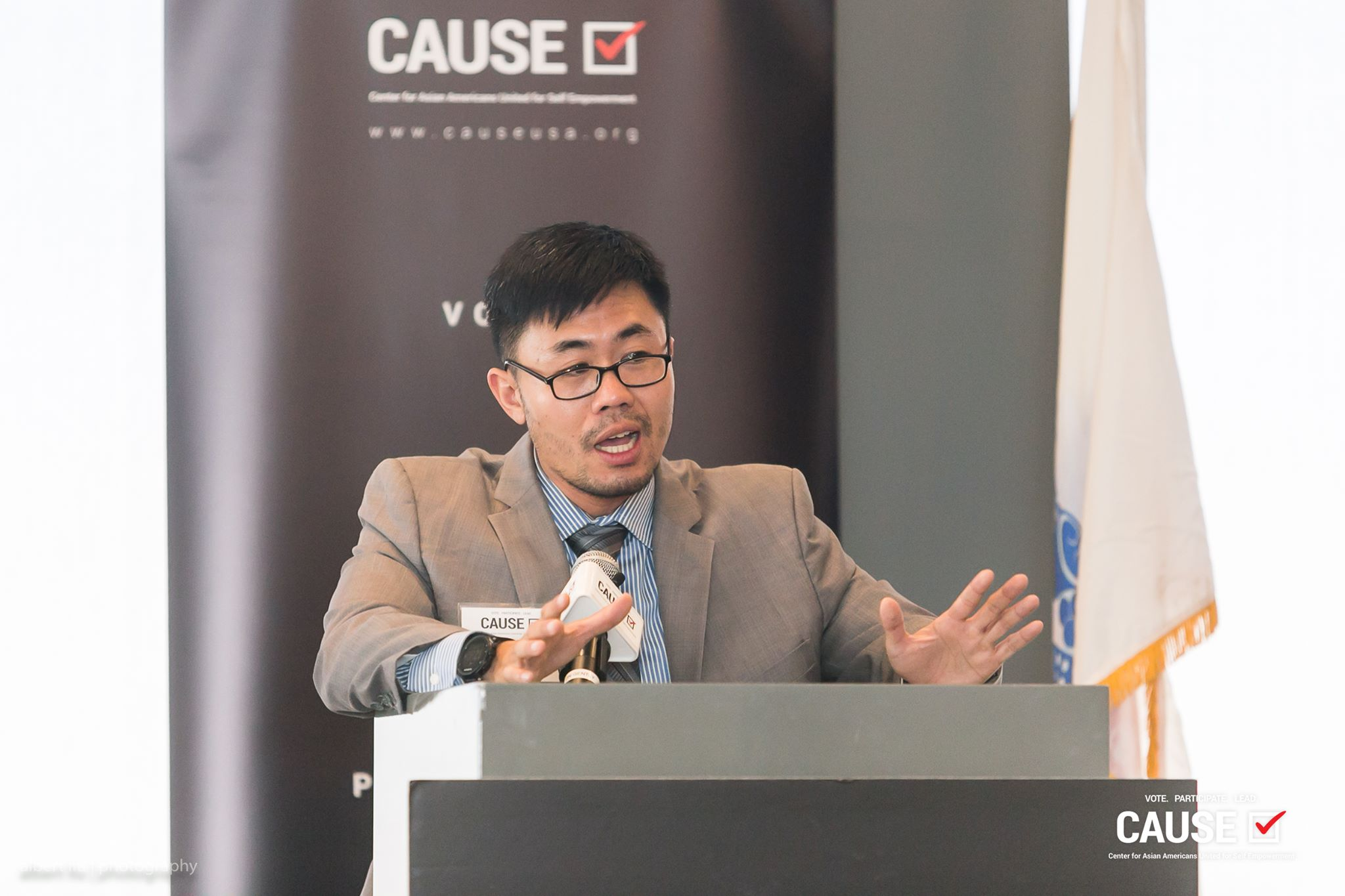 Steven Ly speaking at the 2017 CAUSE Veterans Initiative Leadership Luncheon