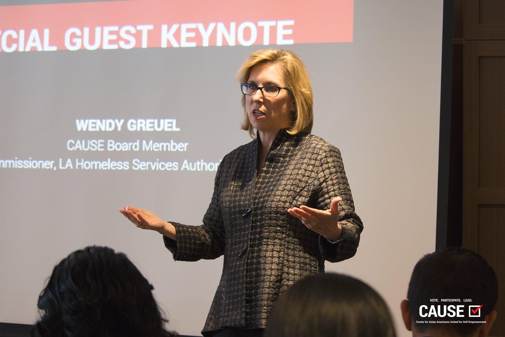 Wendy Greuel speaking to the 2019 CAUSE Leadership Network