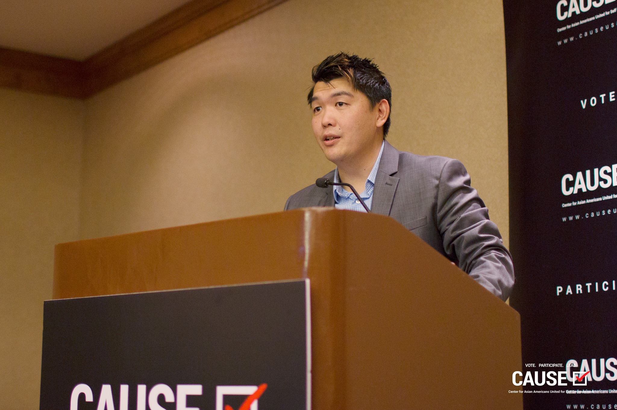 Kenney Tran speaking at the 2017 Veterans Initiative Kickoff