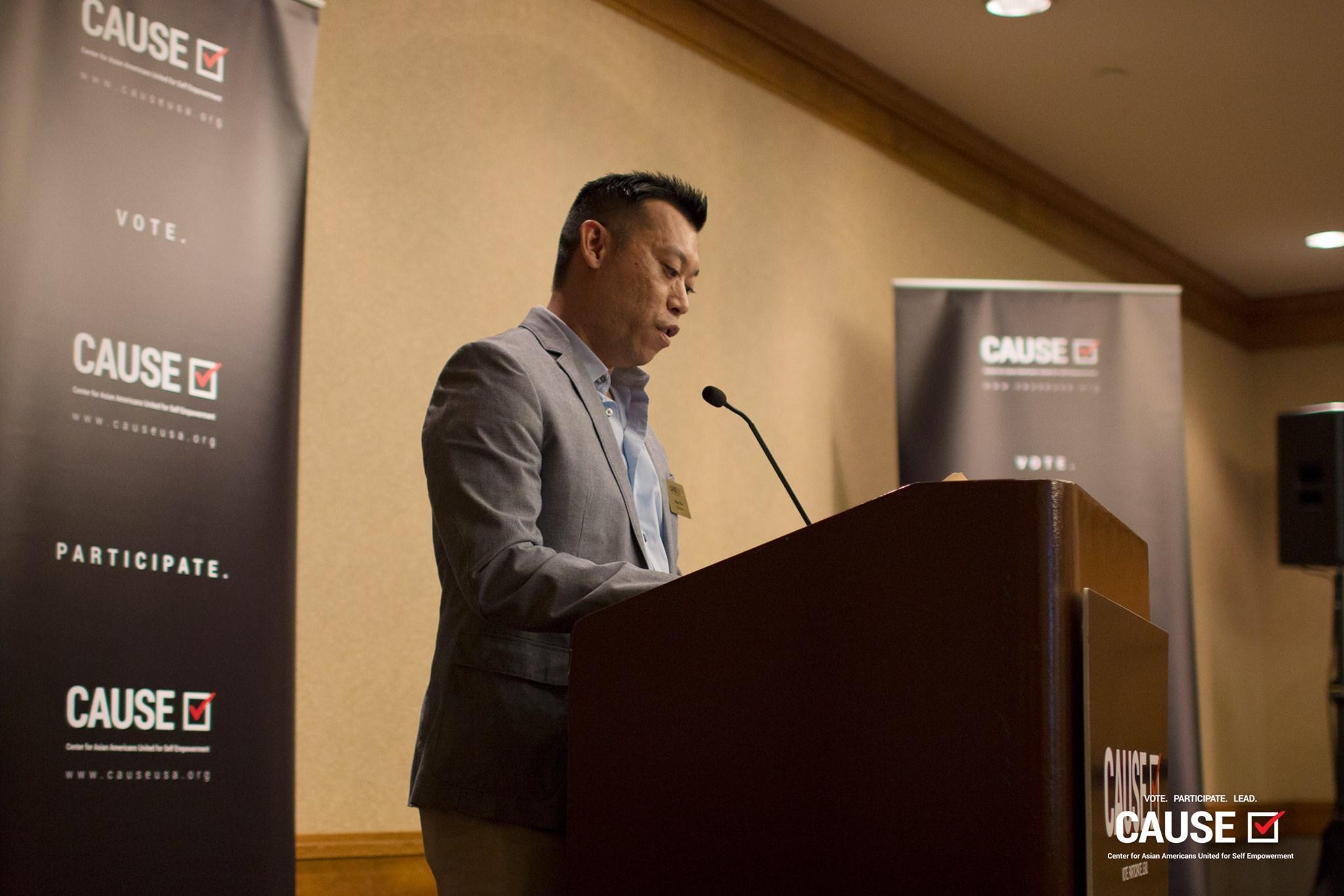 Adam Ma speaking at the 2017 Veterans Initiative Kickoff