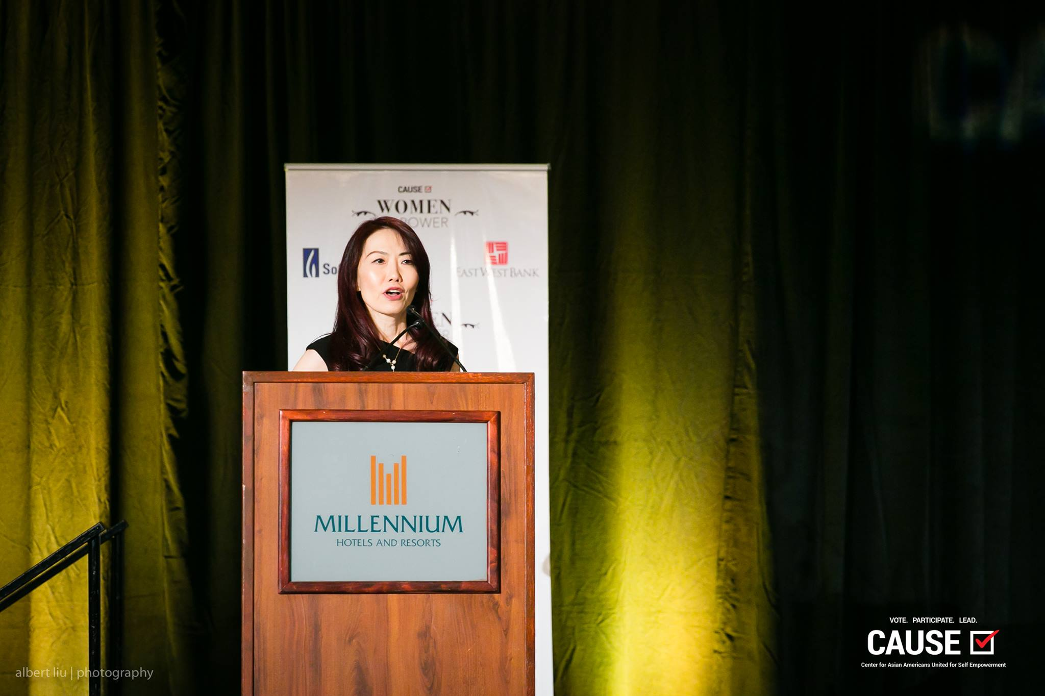 Emily Wang speaking at the 2017 CAUSE Women in Power Leadership Conference