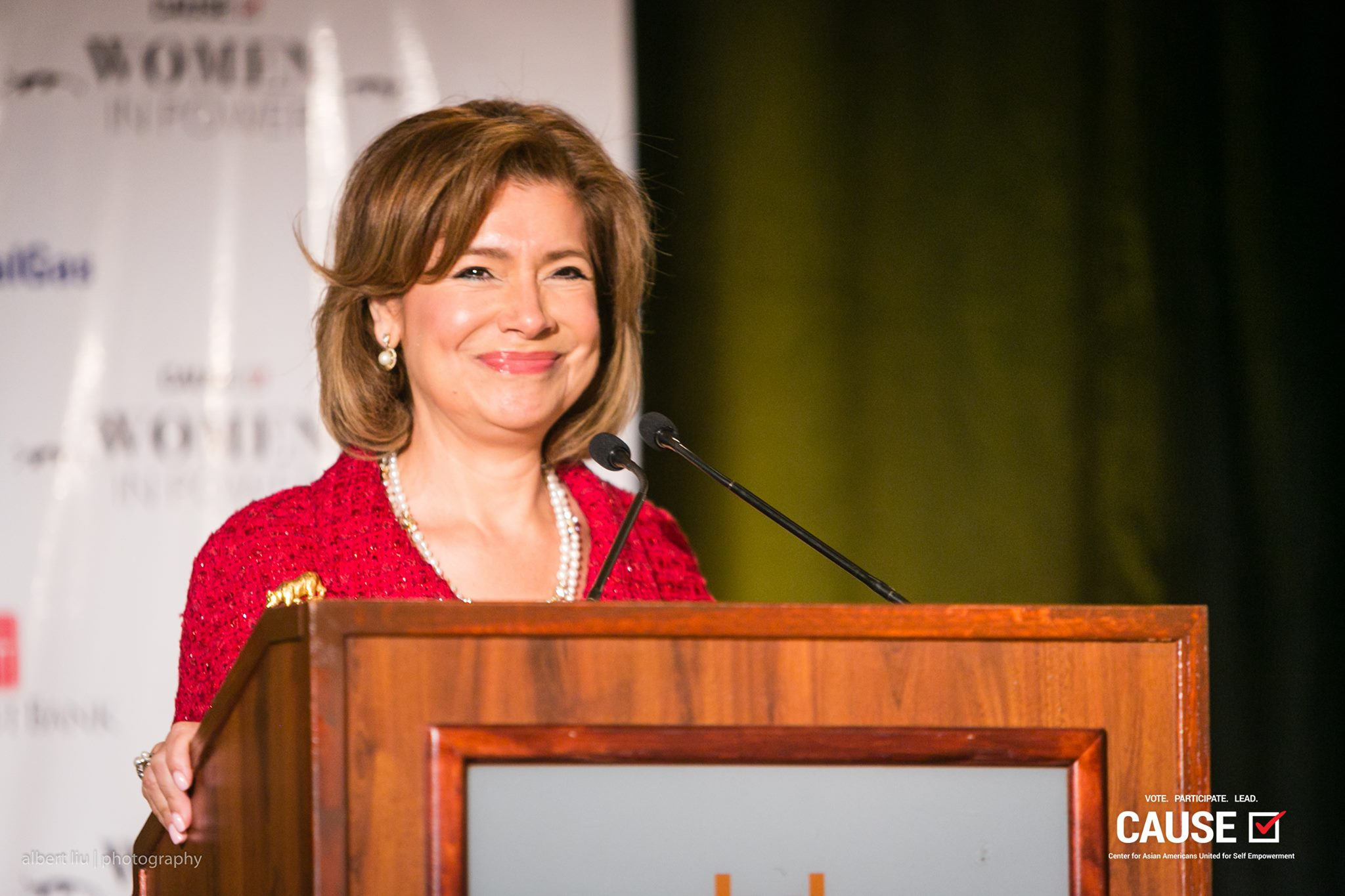 Maria Contreras-Sweet speaking at the 2017 CAUSE Women in Power Leadership Conference