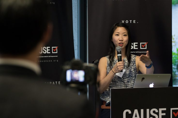 Josie Huang speaking at the 2017 CAUSE Leadership Network Reception