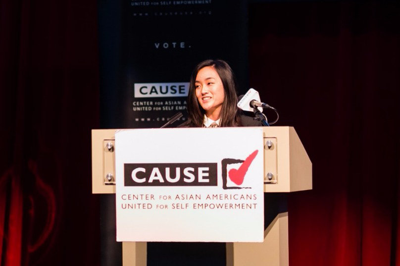 Erika Zheng speaking at the 2016 CAUSE Leadership Academy Graduation