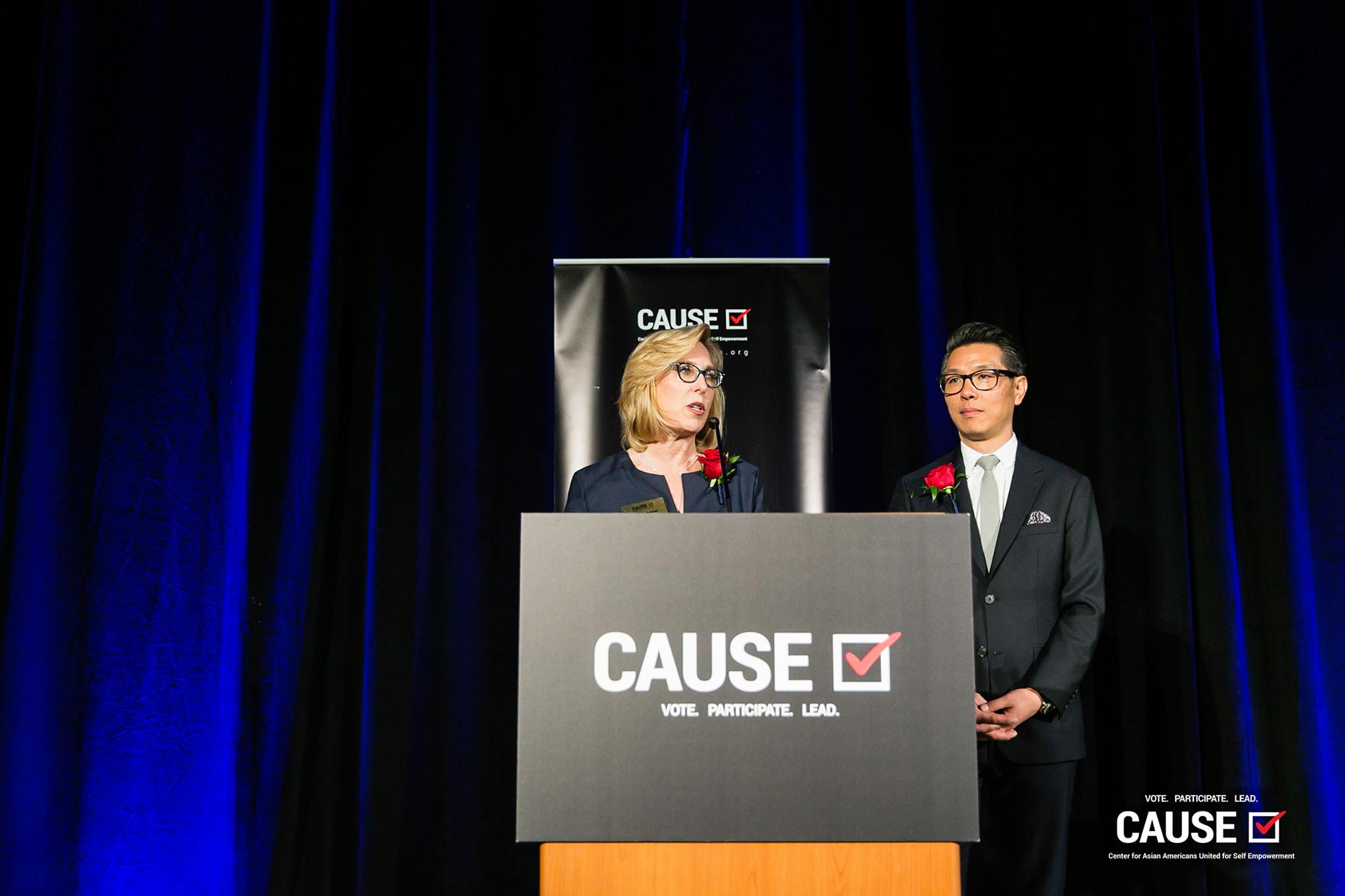 CAUSE Board Members Wendy Greuel and Ralph Barnes speaking at the 2019 CAUSE Annual Gala: The Future We Define