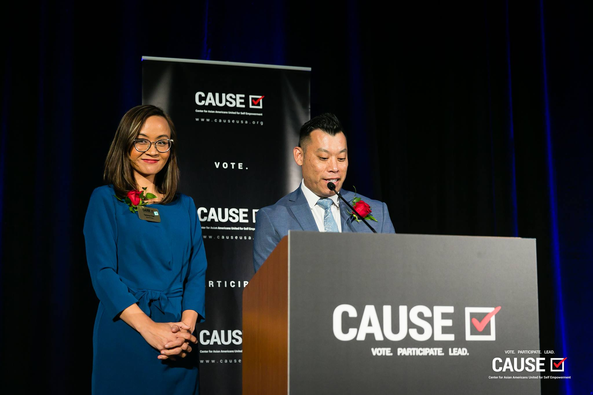 CAUSE Board Members Tammy Tran and Adam Ma speaking at the 2019 CAUSE Annual Gala: The Future We Define