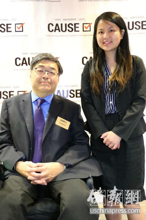 即将前往马世云洛杉矶办公室实习的华裔学生林艳卿和胡泽群一起合影。侨报记者高睿摄