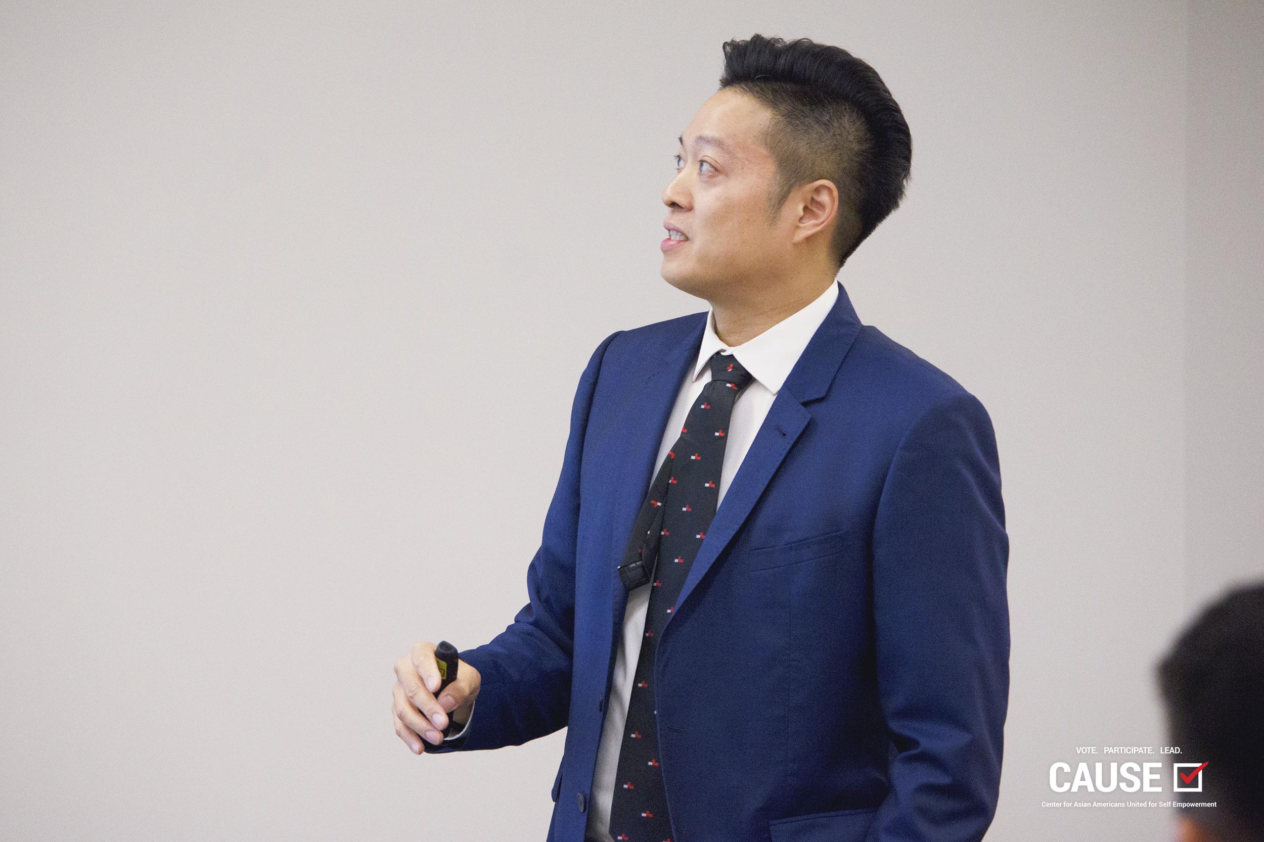Christopher Teng Balmaseda speaking to the 2019 CAUSE Leadership Institute