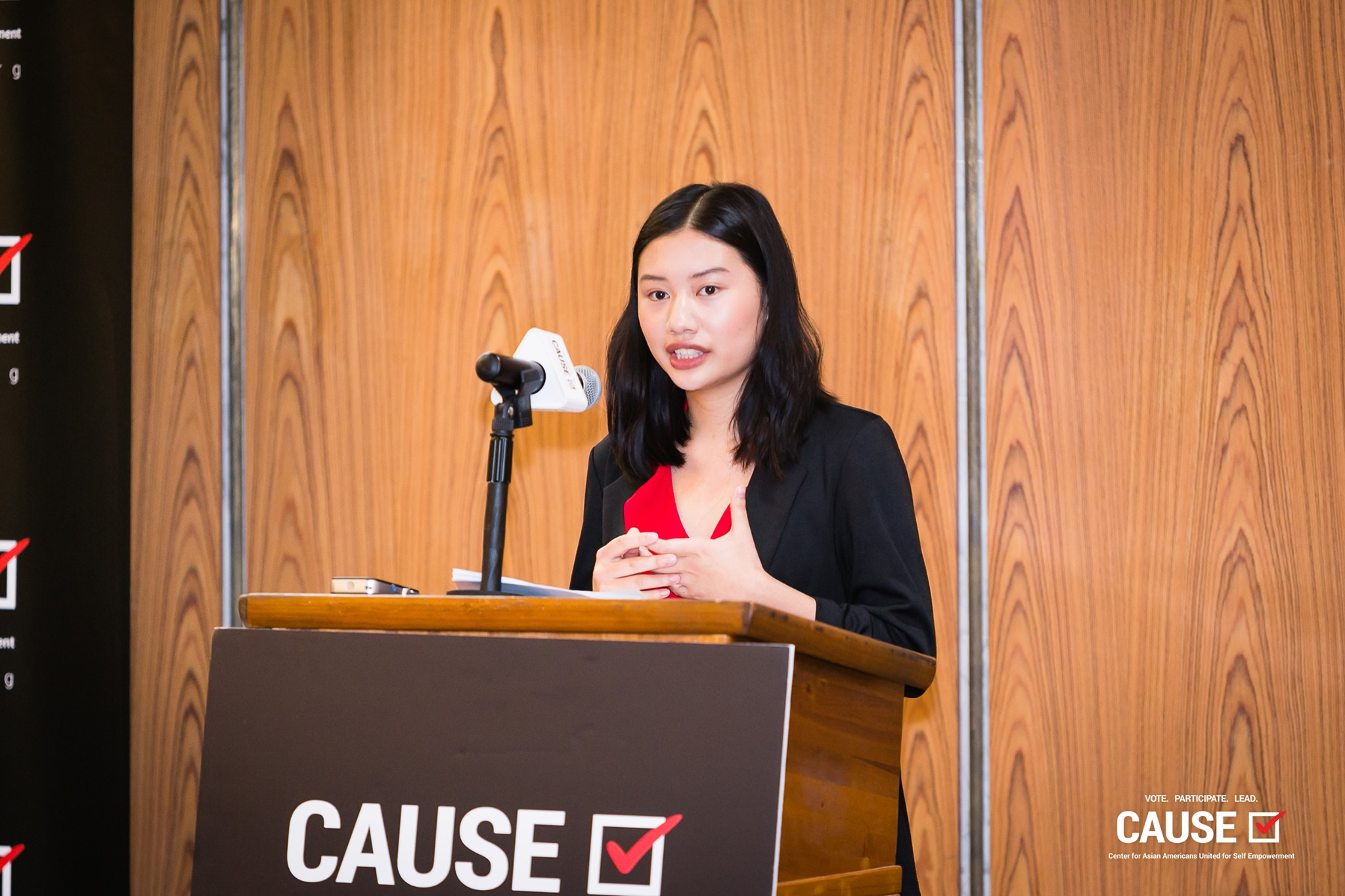 Amber Chong speaking at the 2019 CAUSE Leadership Academy Kickoff