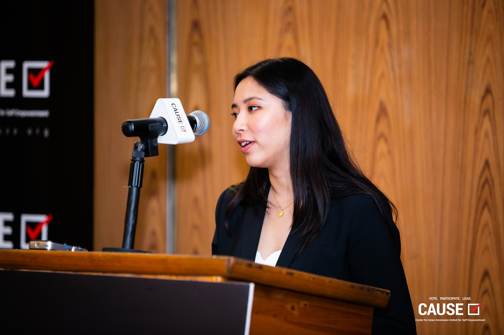 Amy Ho speaking at the 2019 CAUSE Leadership Academy Kickoff