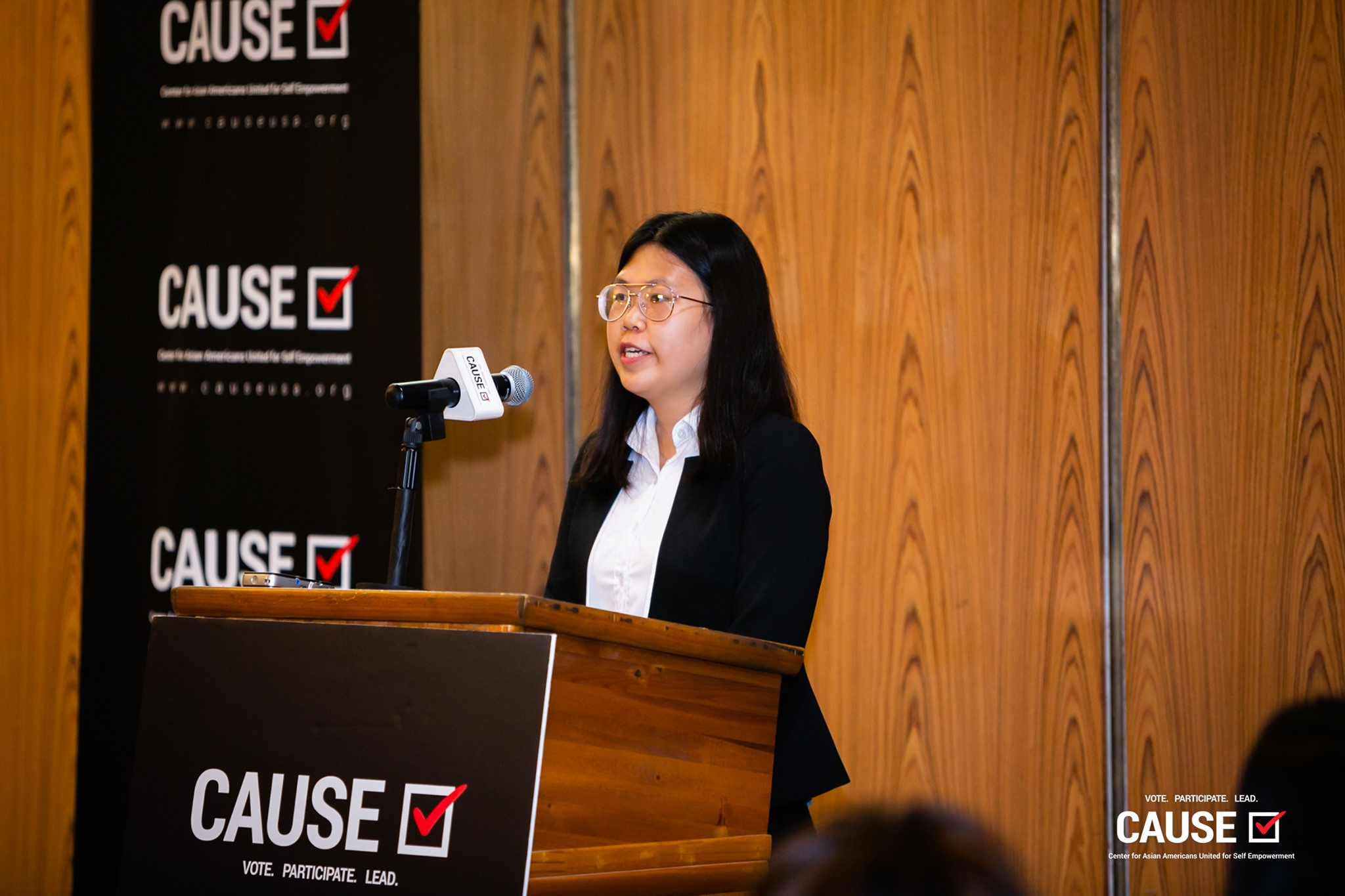 Yanqing Lei speaking at the 2019 CAUSE Leadership Academy Kickoff