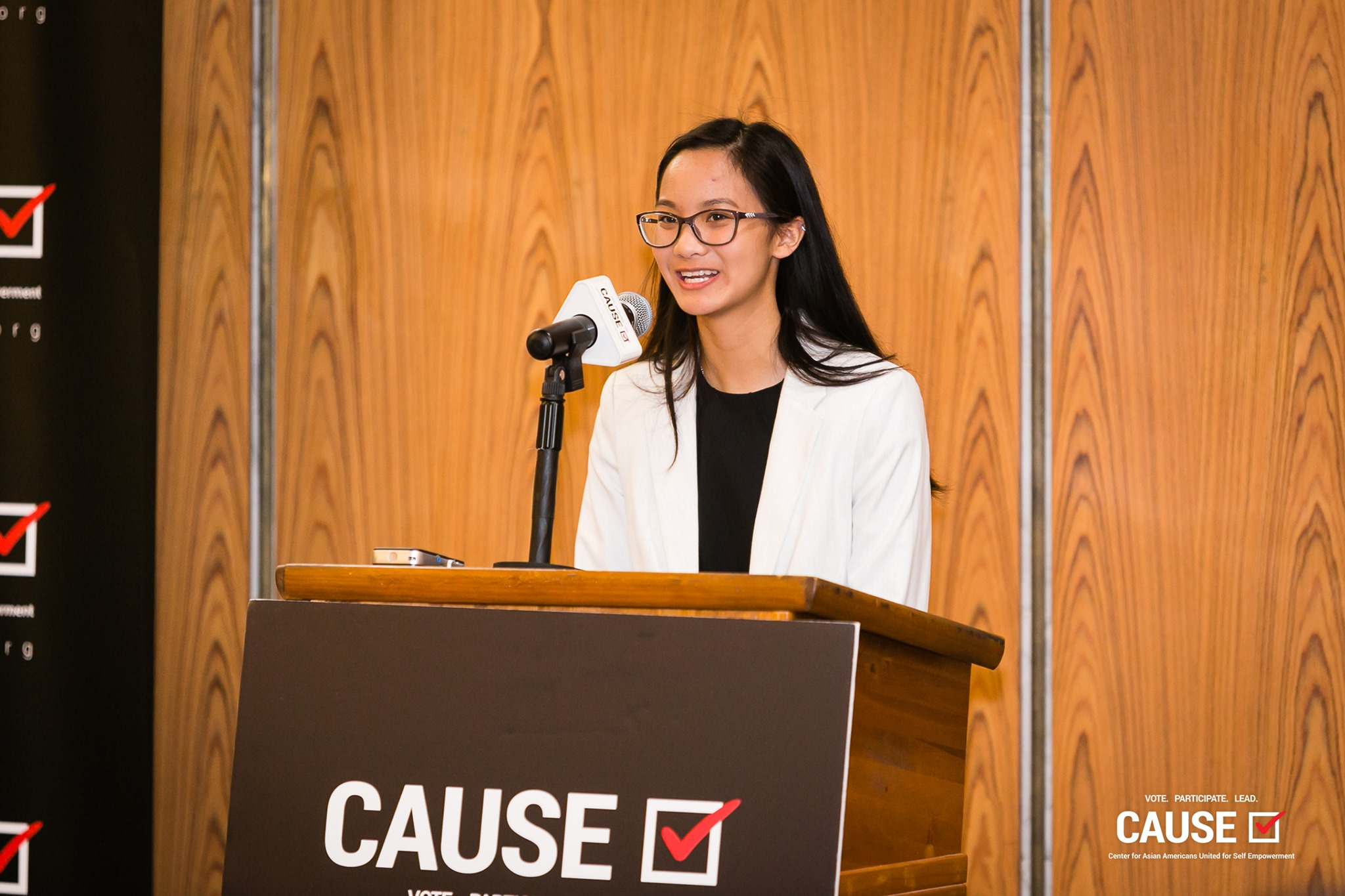Thanh Mai speaking at the 2019 CAUSE Leadership Academy Kickoff