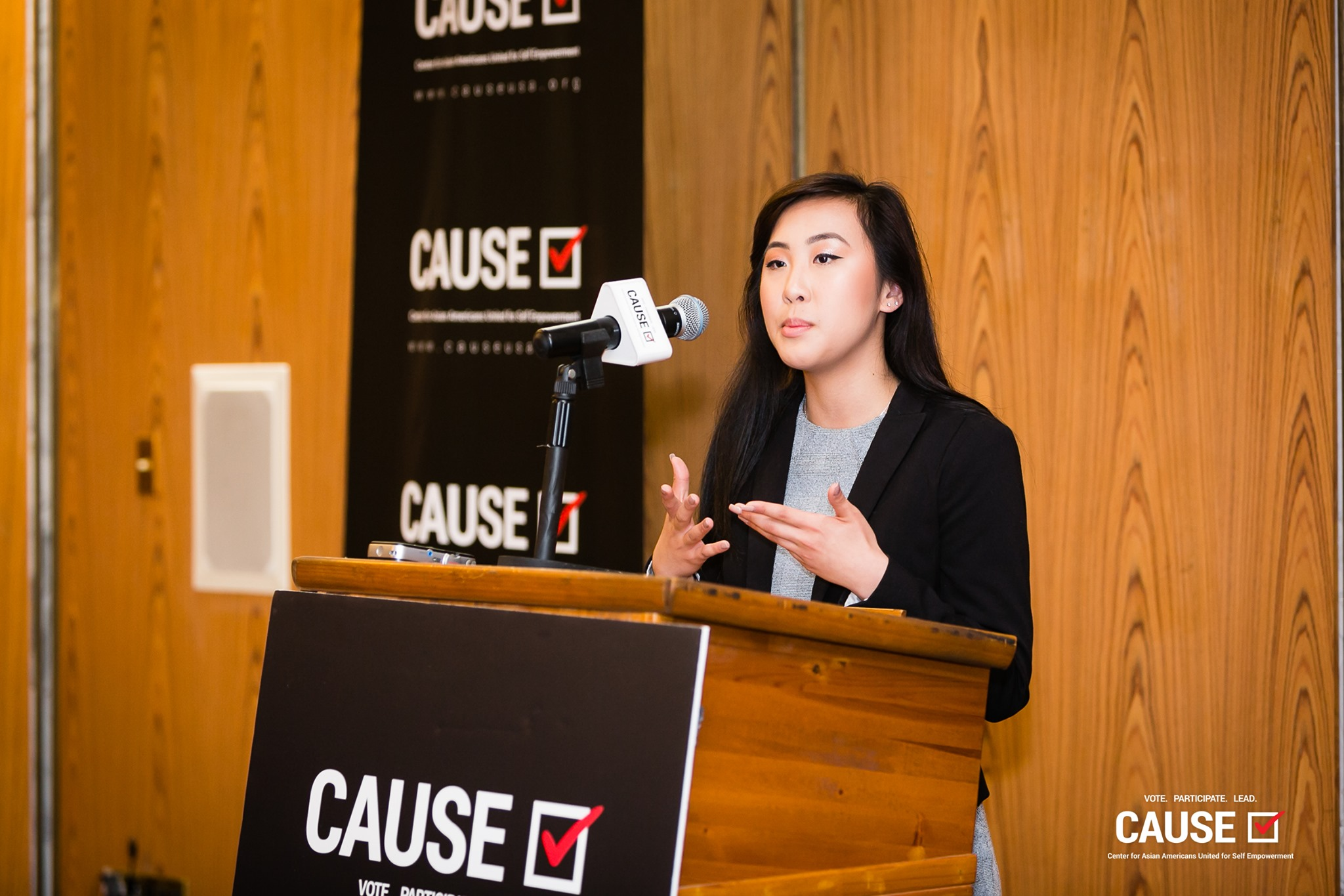 Lena Nguyen speaking at the 2019 CAUSE Leadership Academy Kickoff