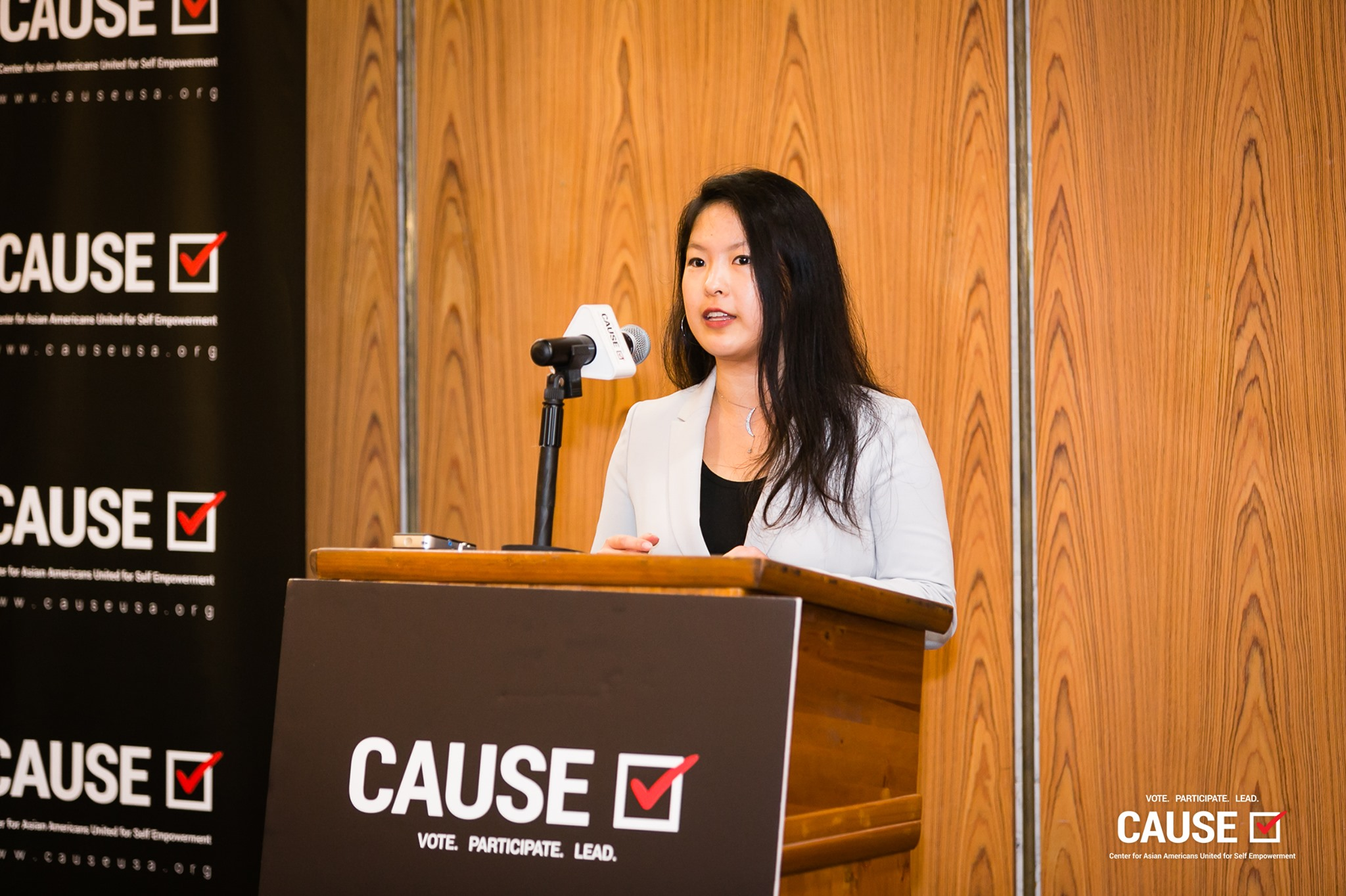 Angela Wang speaking at the 2019 CAUSE Leadership Academy Kickoff