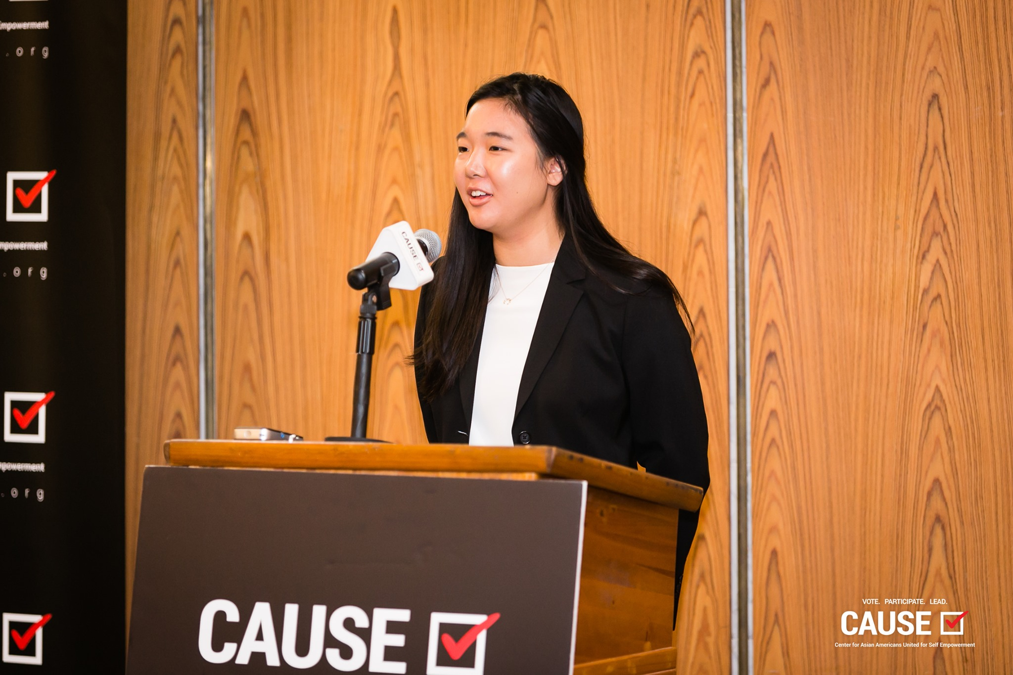 Amanda Yuen speaking at the 2019 CAUSE Leadership Academy Kickoff