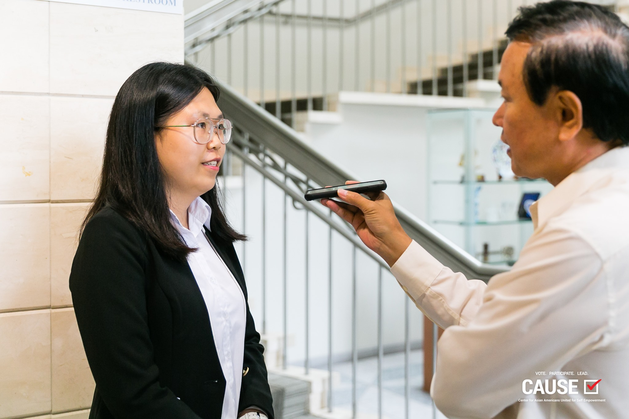 Yangqing Lei of the 2019 CAUSE Leadership Academy being interviewed