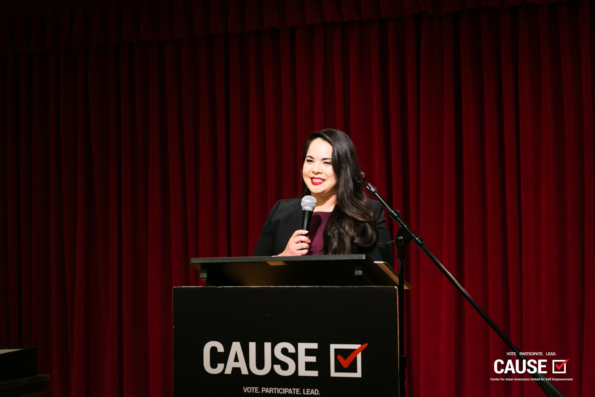 Claire Kitayama speaking at the 2019 CAUSE Leadership Institute Graduation